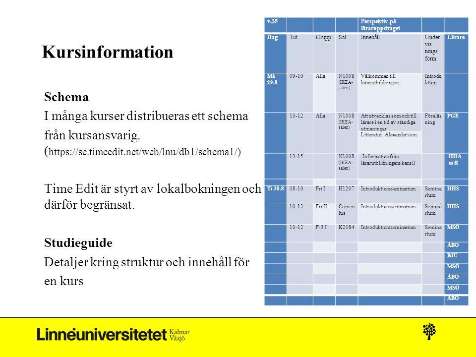 Kursinformation Schema I många kurser distribueras ett schema från kursansvarig. ( https://se.timeedit.net/web/lnu/db1/schema1/) Time Edit är styrt av