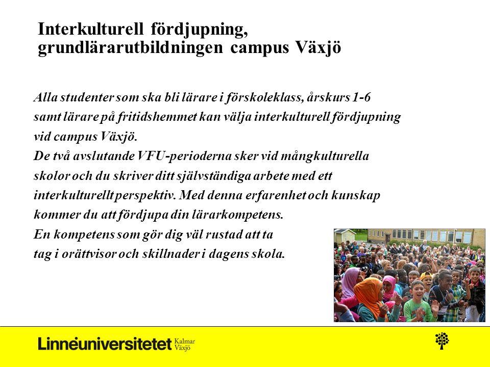 Interkulturell fördjupning, grundlärarutbildningen campus Växjö Alla studenter som ska bli lärare i förskoleklass, årskurs 1-6 samt lärare på fritidshemmet kan välja interkulturell fördjupning vid campus Växjö.