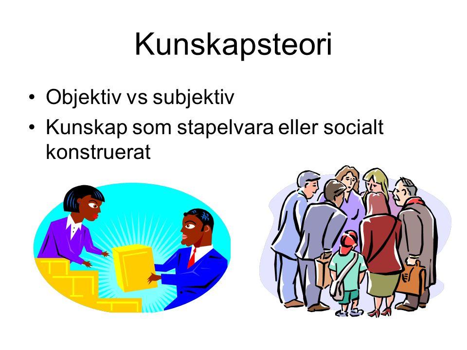 Kunskapsteori Objektiv vs subjektiv Kunskap som stapelvara eller socialt konstruerat