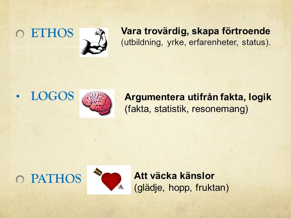 ETHOS LOGOS PATHOS Vara trovärdig, skapa förtroende (utbildning, yrke, erfarenheter, status).