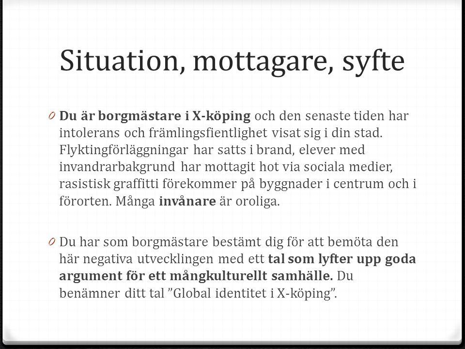 Situation, mottagare, syfte 0 Du är borgmästare i X-köping och den senaste tiden har intolerans och främlingsfientlighet visat sig i din stad.