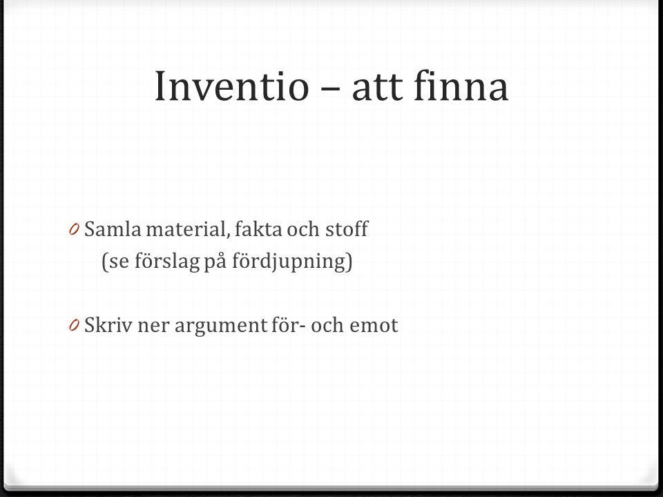 Inventio – att finna 0 Samla material, fakta och stoff (se förslag på fördjupning) 0 Skriv ner argument för- och emot