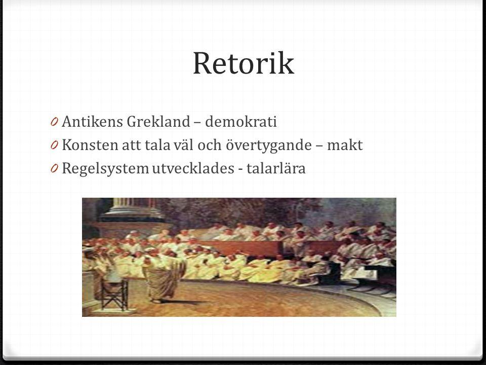 Retorik 0 Antikens Grekland – demokrati 0 Konsten att tala väl och övertygande – makt 0 Regelsystem utvecklades - talarlära
