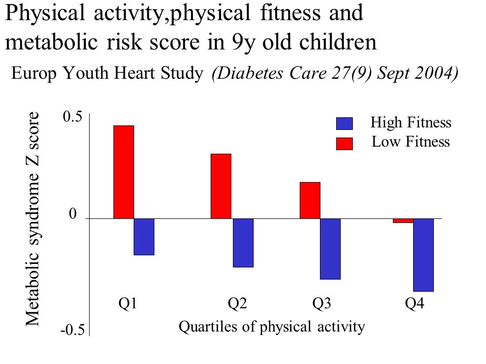 Physical activity,physical fitness and metabolic risk score in 9y old children Europ Youth Heart Study (Diabetes Care 27(9) Sept 2004) 0.5 0 -0.5 Metabolic syndrome Z score High Fitness Low Fitness Q1 Q2 Q3 Q4 Quartiles of physical activity