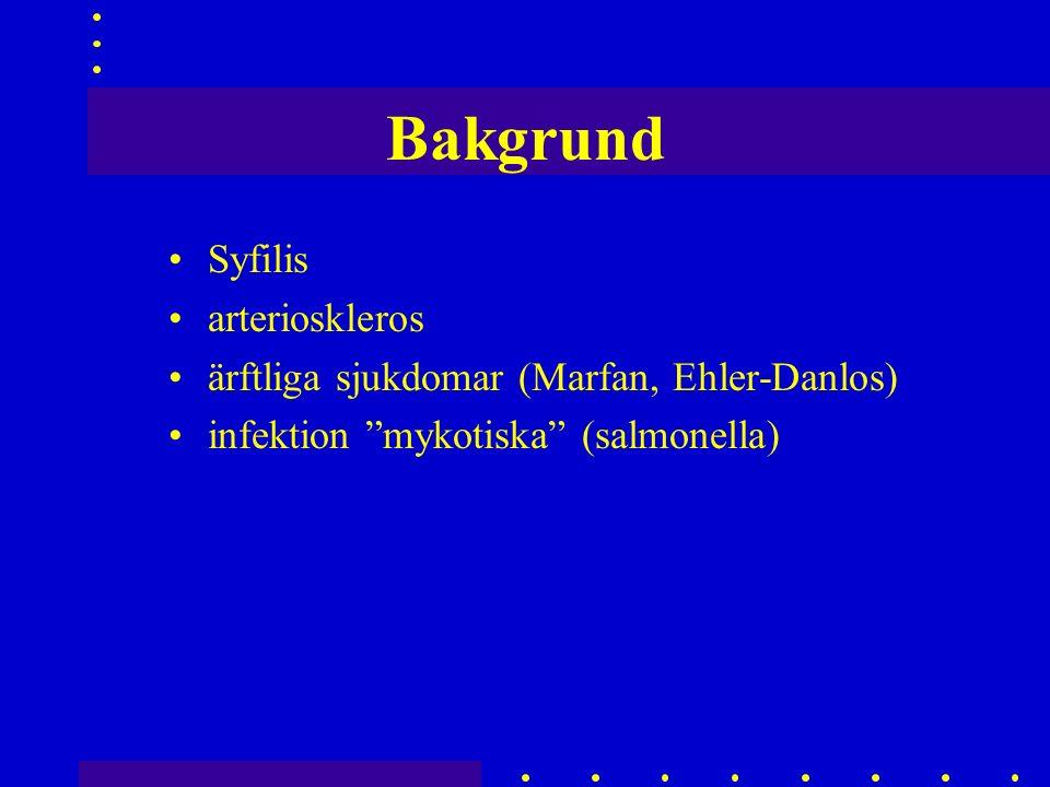 Bakgrund Syfilis arterioskleros ärftliga sjukdomar (Marfan, Ehler-Danlos) infektion mykotiska (salmonella)