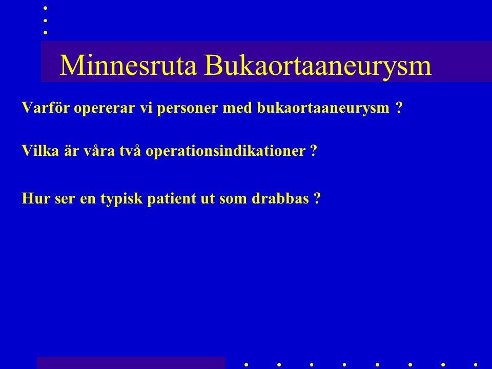 Minnesruta Bukaortaaneurysm Varför opererar vi personer med bukaortaaneurysm .