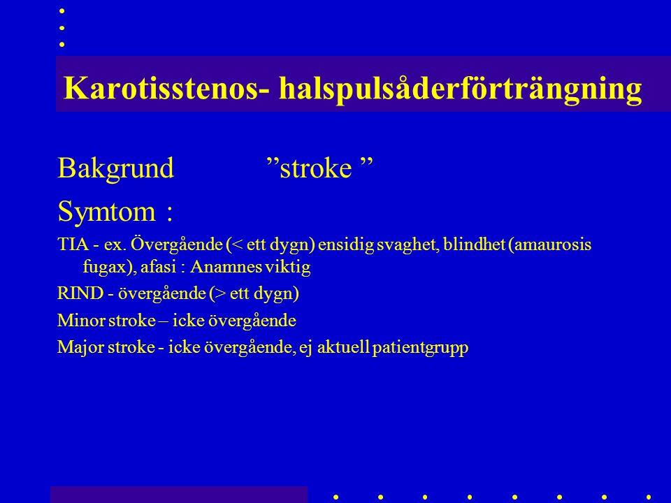 Karotisstenos- halspulsåderförträngning Bakgrund stroke Symtom : TIA - ex.