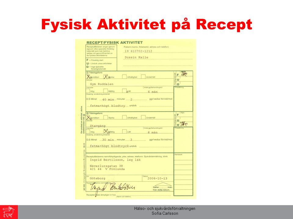 Hälso- och sjukvårdsförvaltningen Sofia Carlsson Fysisk Aktivitet på Recept