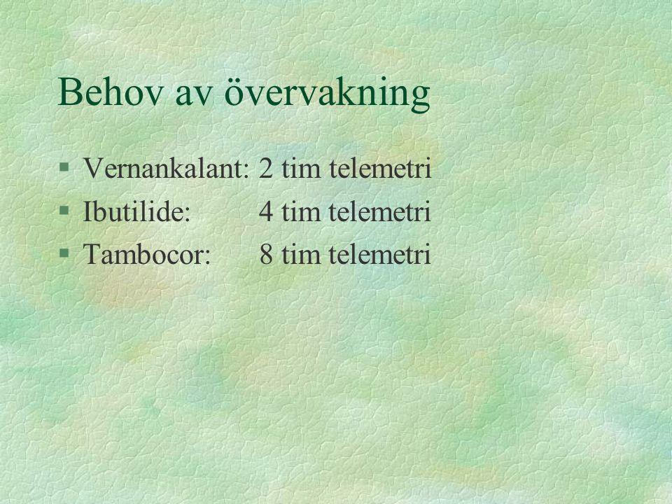 Behov av övervakning §Vernankalant: 2 tim telemetri §Ibutilide:4 tim telemetri §Tambocor:8 tim telemetri