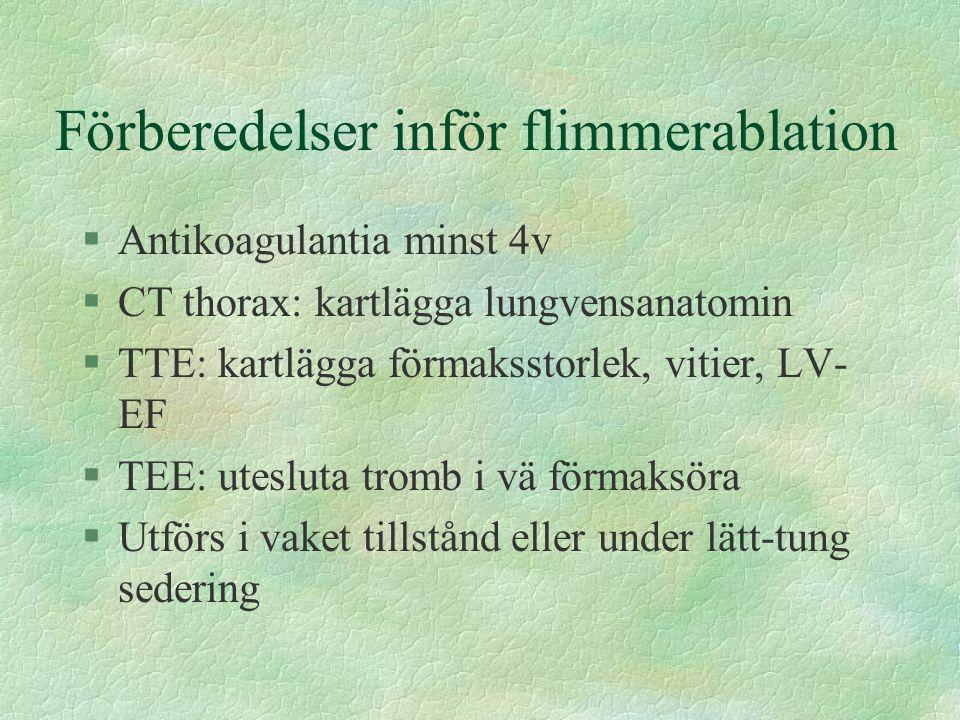 Förberedelser inför flimmerablation §Antikoagulantia minst 4v §CT thorax: kartlägga lungvensanatomin §TTE: kartlägga förmaksstorlek, vitier, LV- EF §T