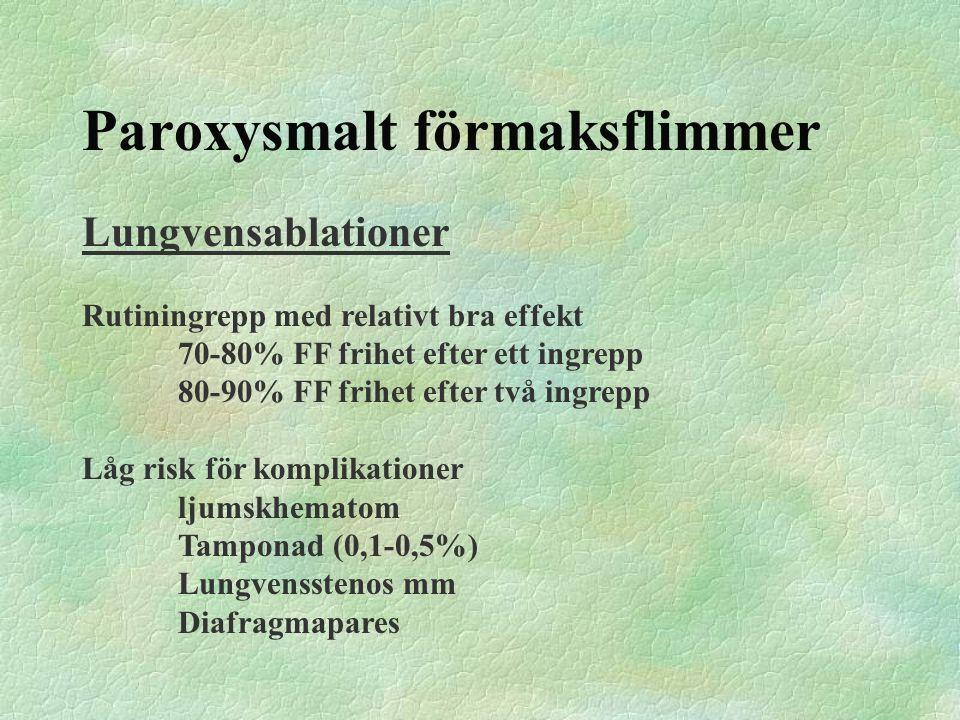 Paroxysmalt förmaksflimmer Lungvensablationer Rutiningrepp med relativt bra effekt 70-80% FF frihet efter ett ingrepp 80-90% FF frihet efter två ingre