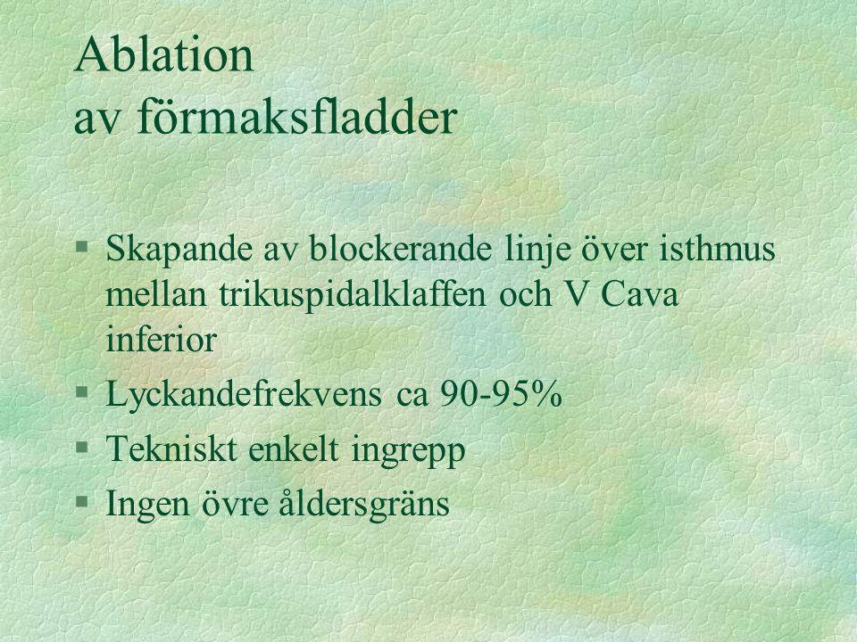 Ablation av förmaksfladder §Skapande av blockerande linje över isthmus mellan trikuspidalklaffen och V Cava inferior §Lyckandefrekvens ca 90-95% §Tekn