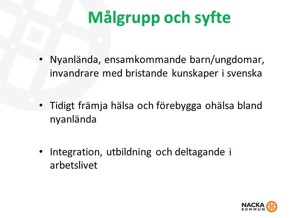 Målgrupp och syfte Nyanlända, ensamkommande barn/ungdomar, invandrare med bristande kunskaper i svenska Tidigt främja hälsa och förebygga ohälsa bland nyanlända Integration, utbildning och deltagande i arbetslivet