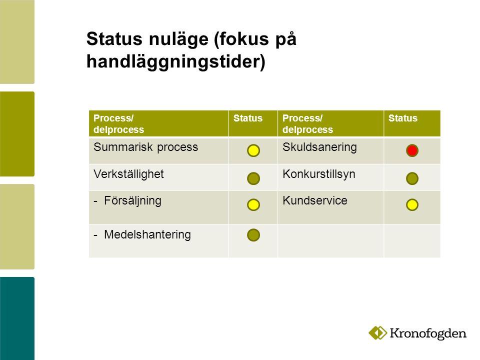Process/ delprocess StatusProcess/ delprocess Status Summarisk processSkuldsanering VerkställighetKonkurstillsyn - FörsäljningKundservice - Medelshantering Status nuläge (fokus på handläggningstider)