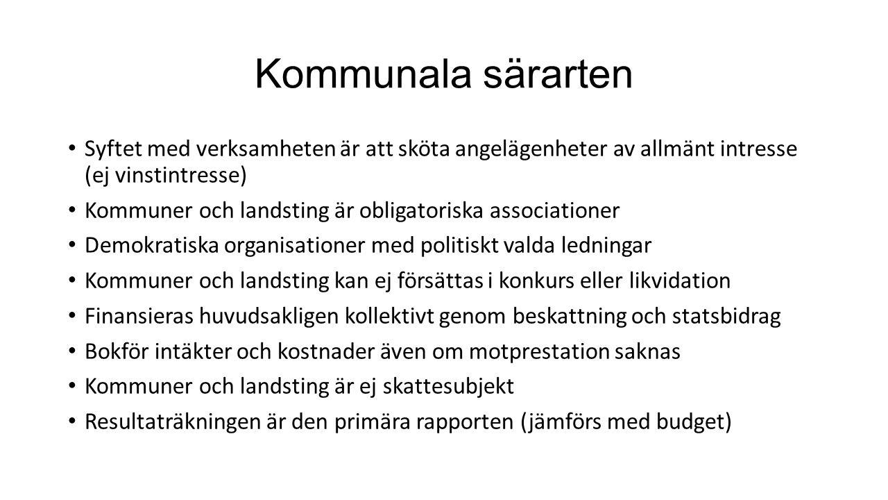 Kommunala särarten Syftet med verksamheten är att sköta angelägenheter av allmänt intresse (ej vinstintresse) Kommuner och landsting är obligatoriska
