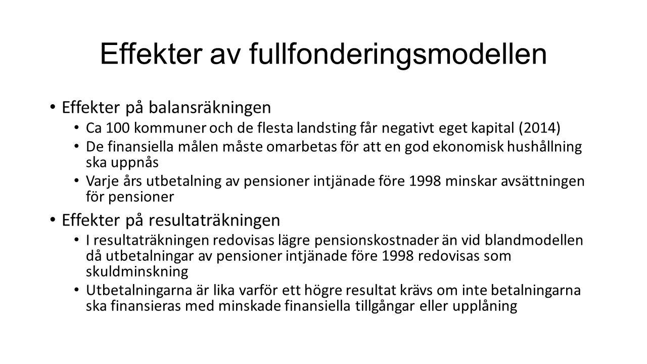 Finansiering av pensionsförpliktelser Det finns fyra sätt att finansiera framtida utbetalningar av förmånsbestämda pensioner Öronmärka medel i egen balansräkning Sätta av medel i pensionsstiftelse (avsättningen minskar) Teckna försäkring (avsättningen minskar) Ta hänsyn till de framtida utbetalningarna i de finansiella målen (t.ex.