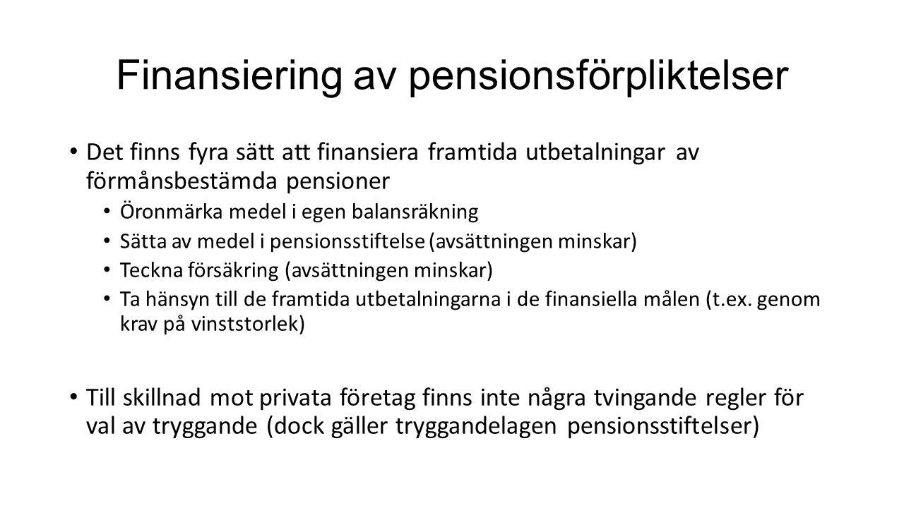 Finansiering av pensionsförpliktelser Det finns fyra sätt att finansiera framtida utbetalningar av förmånsbestämda pensioner Öronmärka medel i egen ba