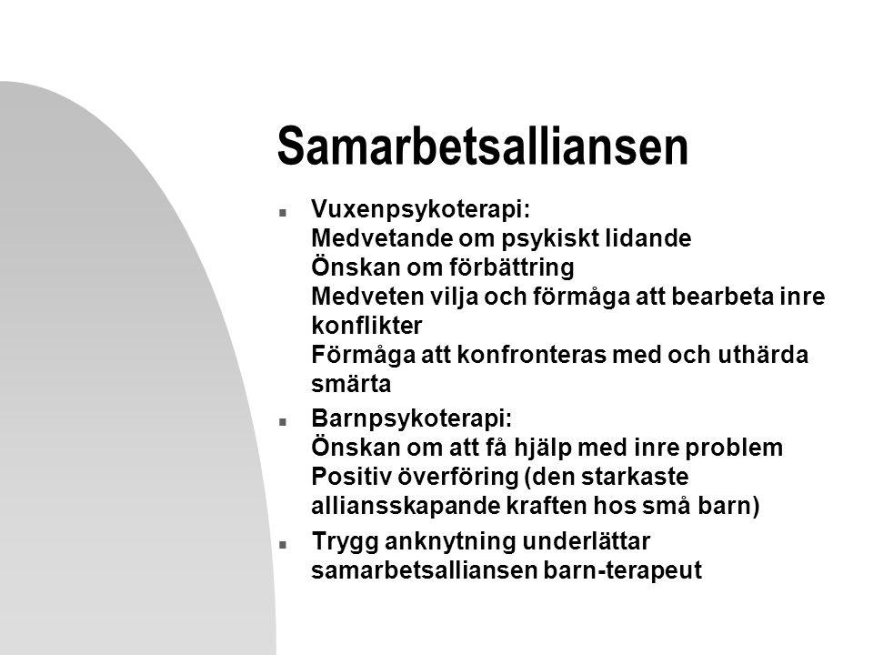 Samarbetsalliansen n Vuxenpsykoterapi: Medvetande om psykiskt lidande Önskan om förbättring Medveten vilja och förmåga att bearbeta inre konflikter Förmåga att konfronteras med och uthärda smärta n Barnpsykoterapi: Önskan om att få hjälp med inre problem Positiv överföring (den starkaste alliansskapande kraften hos små barn) n Trygg anknytning underlättar samarbetsalliansen barn-terapeut