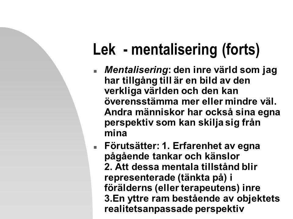 Lek - mentalisering (forts) n Mentalisering: den inre värld som jag har tillgång till är en bild av den verkliga världen och den kan överensstämma mer eller mindre väl.