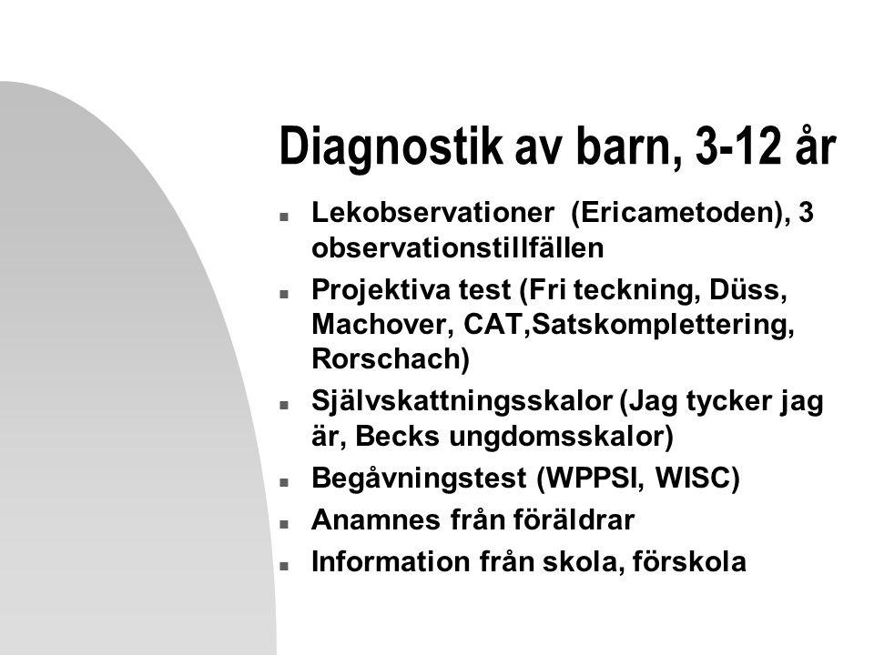 Diagnostik av barn, 3-12 år n Lekobservationer (Ericametoden), 3 observationstillfällen n Projektiva test (Fri teckning, Düss, Machover, CAT,Satskomplettering, Rorschach) n Självskattningsskalor (Jag tycker jag är, Becks ungdomsskalor) n Begåvningstest (WPPSI, WISC) n Anamnes från föräldrar n Information från skola, förskola
