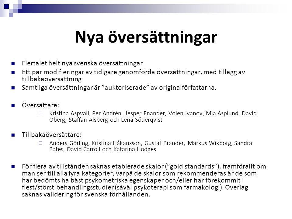 Nya översättningar Flertalet helt nya svenska översättningar Ett par modifieringar av tidigare genomförda översättningar, med tillägg av tillbakaöversättning Samtliga översättningar är auktoriserade av originalförfattarna.