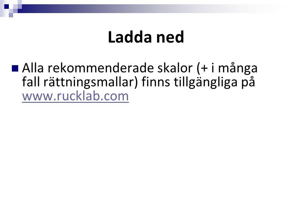 Ladda ned Alla rekommenderade skalor (+ i många fall rättningsmallar) finns tillgängliga på www.rucklab.com www.rucklab.com