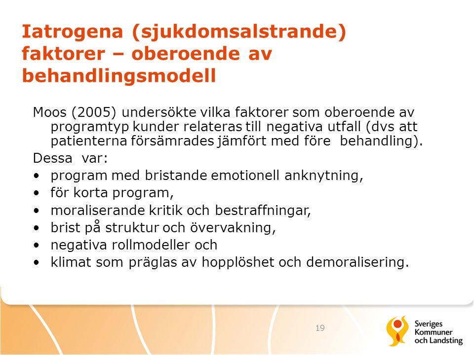 Iatrogena (sjukdomsalstrande) faktorer – oberoende av behandlingsmodell Moos (2005) undersökte vilka faktorer som oberoende av programtyp kunder relat