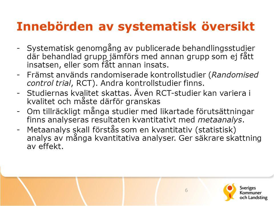 Innebörden av systematisk översikt -Systematisk genomgång av publicerade behandlingsstudier där behandlad grupp jämförs med annan grupp som ej fått in
