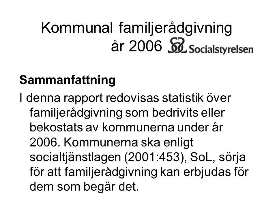 Kommunal familjerådgivning år 2006 Sammanfattning I denna rapport redovisas statistik över familjerådgivning som bedrivits eller bekostats av kommunerna under år 2006.