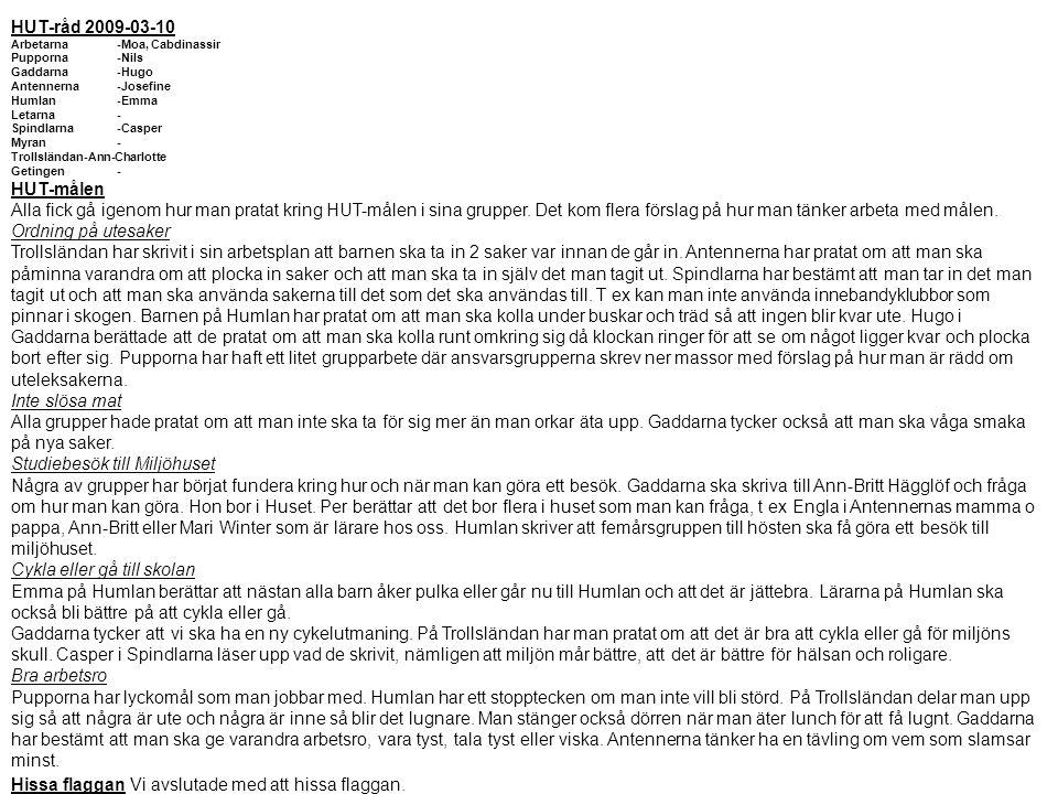 HUT-råd 2009-03-10 Arbetarna-Moa, Cabdinassir Pupporna-Nils Gaddarna-Hugo Antennerna-Josefine Humlan-Emma Letarna- Spindlarna-Casper Myran- Trollsländ