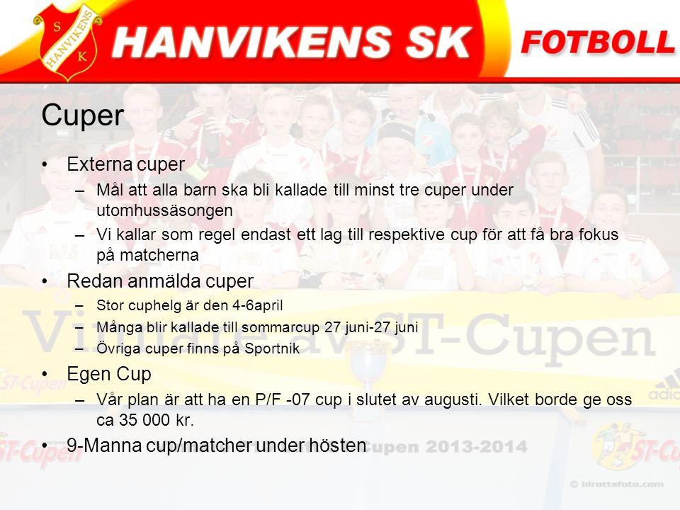 Cuper Externa cuper –Mål att alla barn ska bli kallade till minst tre cuper under utomhussäsongen –Vi kallar som regel endast ett lag till respektive cup för att få bra fokus på matcherna Redan anmälda cuper –Stor cuphelg är den 4-6april –Många blir kallade till sommarcup 27 juni-27 juni –Övriga cuper finns på Sportnik Egen Cup –Vår plan är att ha en P/F -07 cup i slutet av augusti.