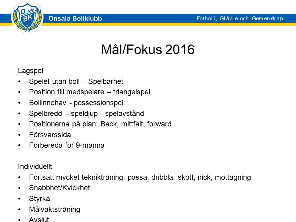 Mål/Fokus 2016 Lagspel Spelet utan boll – Spelbarhet Position till medspelare – triangelspel Bollinnehav - possessionspel Spelbredd – speldjup - spela