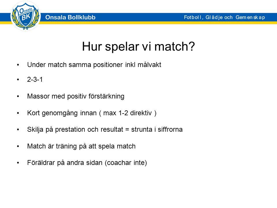 Hur spelar vi match? Under match samma positioner inkl målvakt 2-3-1 Massor med positiv förstärkning Kort genomgång innan ( max 1-2 direktiv ) Skilja