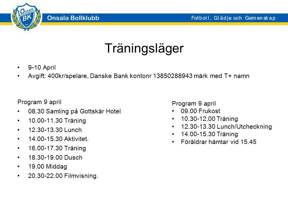 Träningsläger 9-10 April Avgift: 400kr/spelare, Danske Bank kontonr 13850288943 märk med T+ namn Program 9 april 08.30 Samling på Gottskär Hotel 10.00