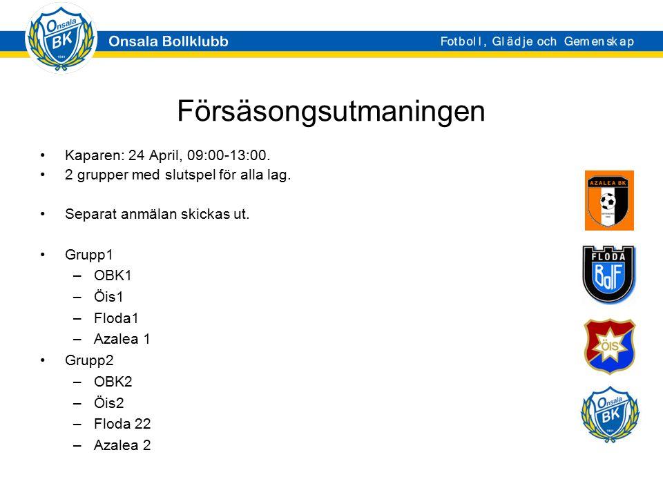 Försäsongsutmaningen Kaparen: 24 April, 09:00-13:00. 2 grupper med slutspel för alla lag. Separat anmälan skickas ut. Grupp1 –OBK1 –Öis1 –Floda1 –Azal