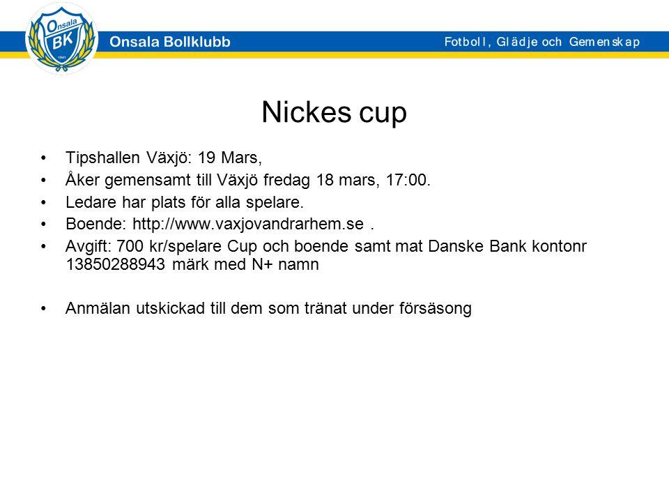 Nickes cup Tipshallen Växjö: 19 Mars, Åker gemensamt till Växjö fredag 18 mars, 17:00. Ledare har plats för alla spelare. Boende: http://www.vaxjovand