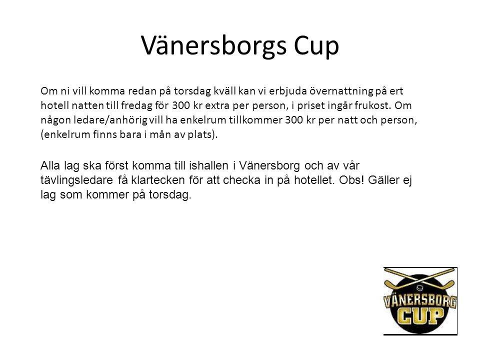 Vänersborgs Cup Om ni vill komma redan på torsdag kväll kan vi erbjuda övernattning på ert hotell natten till fredag för 300 kr extra per person, i pr