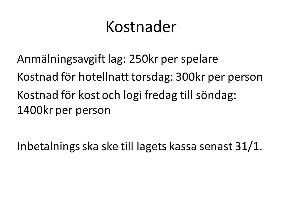 Kostnader Anmälningsavgift lag: 250kr per spelare Kostnad för hotellnatt torsdag: 300kr per person Kostnad för kost och logi fredag till söndag: 1400k