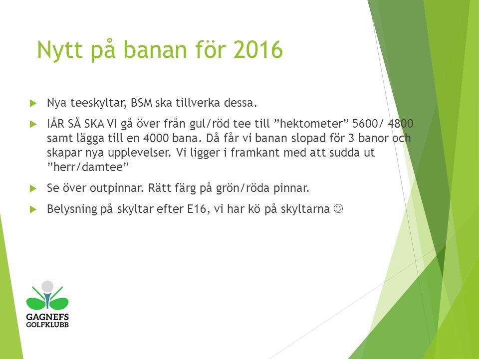 Nytt på banan för 2016  Nya teeskyltar, BSM ska tillverka dessa.