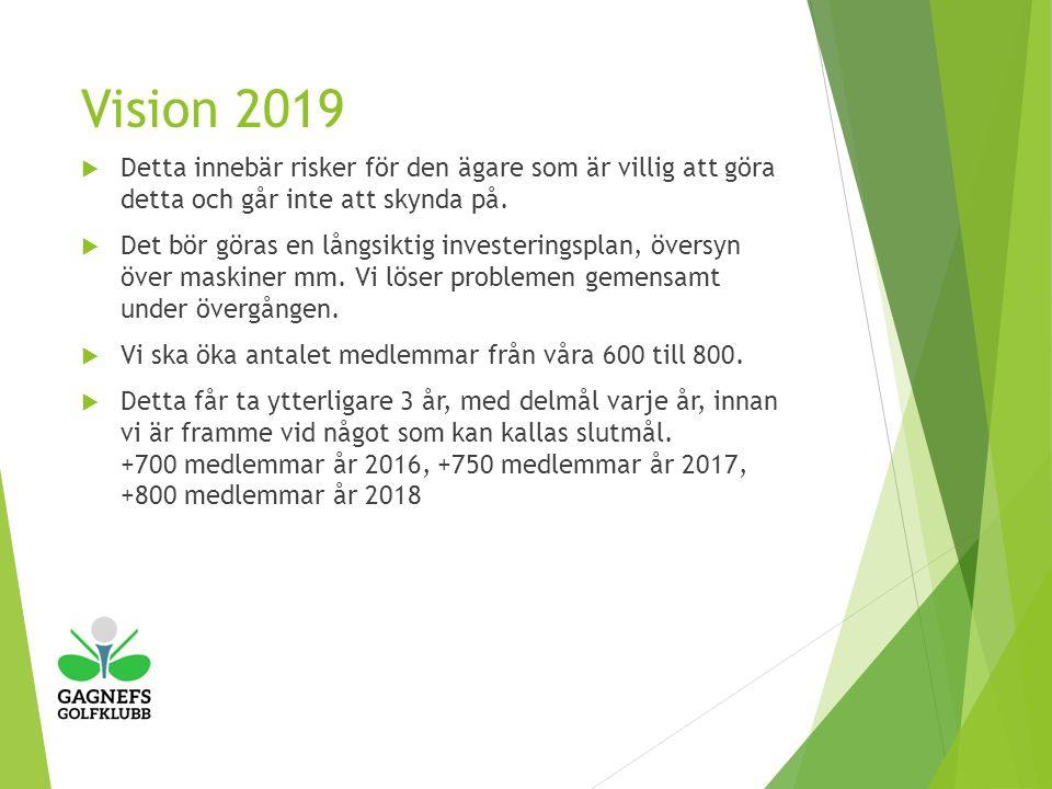 Vision 2019  Detta innebär risker för den ägare som är villig att göra detta och går inte att skynda på.