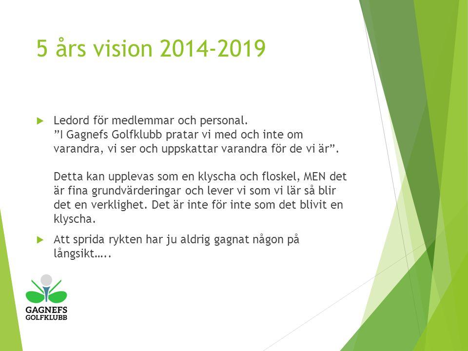 5 års vision 2014-2019  Ledord för medlemmar och personal.