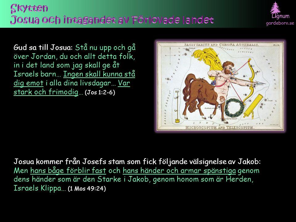 gardeborn.se Gud sa till Josua: Stå nu upp och gå över Jordan, du och allt detta folk, in i det land som jag skall ge åt Israels barn… Ingen skall kunna stå dig emot i alla dina livsdagar… Var stark och frimodig… (Jos 1:2-6) Josua kommer från Josefs stam som fick följande välsignelse av Jakob: Men hans båge förblir fast och hans händer och armar spänstiga genom dens händer som är den Starke i Jakob, genom honom som är Herden, Israels Klippa… (1 Mos 49:24)