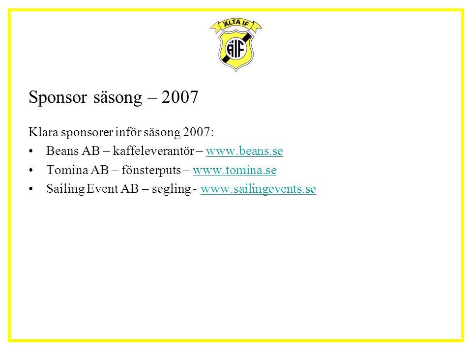 Sponsor säsong – 2007 Klara sponsorer inför säsong 2007: Beans AB – kaffeleverantör – www.beans.sewww.beans.se Tomina AB – fönsterputs – www.tomina.sewww.tomina.se Sailing Event AB – segling - www.sailingevents.sewww.sailingevents.se