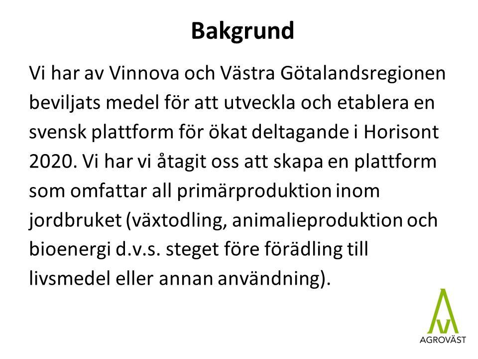 Bakgrund Vi har av Vinnova och Västra Götalandsregionen beviljats medel för att utveckla och etablera en svensk plattform för ökat deltagande i Horisont 2020.
