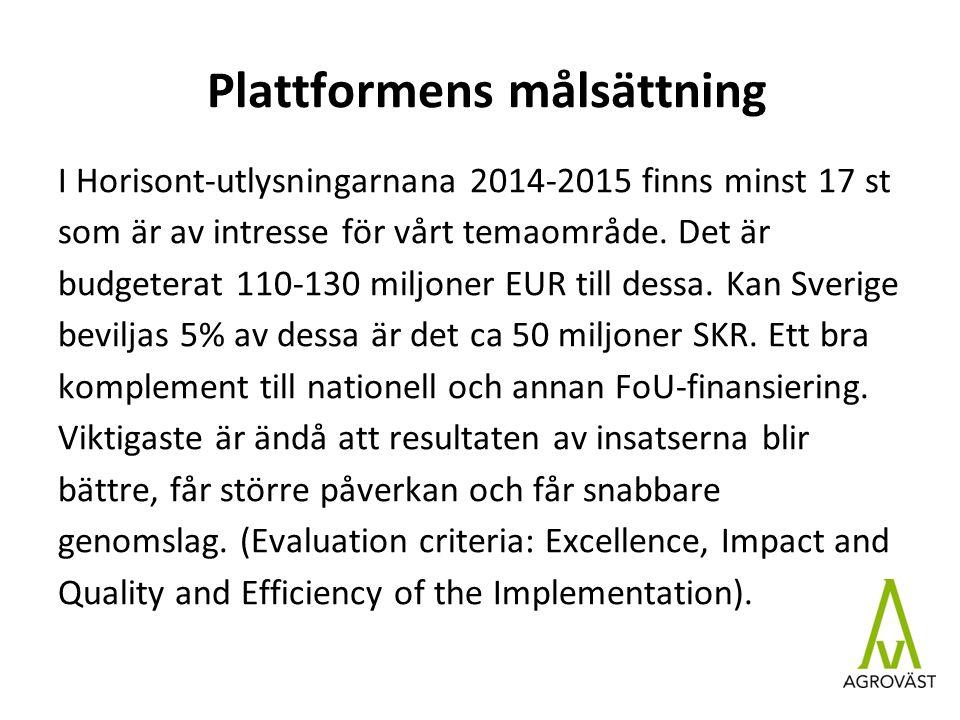 Plattformens målsättning I Horisont-utlysningarnana 2014-2015 finns minst 17 st som är av intresse för vårt temaområde.