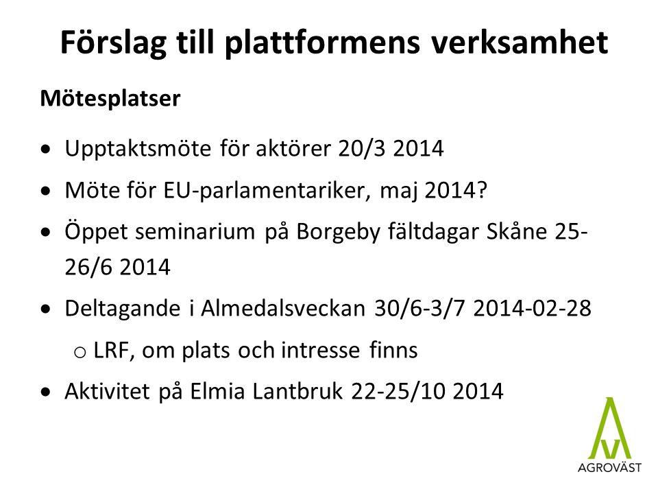 Förslag till plattformens verksamhet Mötesplatser  Upptaktsmöte för aktörer 20/3 2014  Möte för EU-parlamentariker, maj 2014.