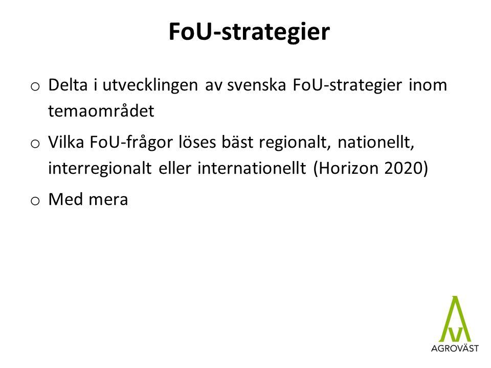 FoU-strategier o Delta i utvecklingen av svenska FoU-strategier inom temaområdet o Vilka FoU-frågor löses bäst regionalt, nationellt, interregionalt eller internationellt (Horizon 2020) o Med mera