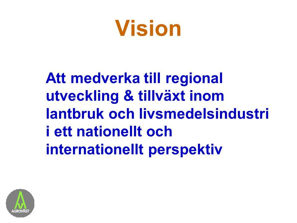 Vision Att medverka till regional utveckling & tillväxt inom lantbruk och livsmedelsindustri i ett nationellt och internationellt perspektiv