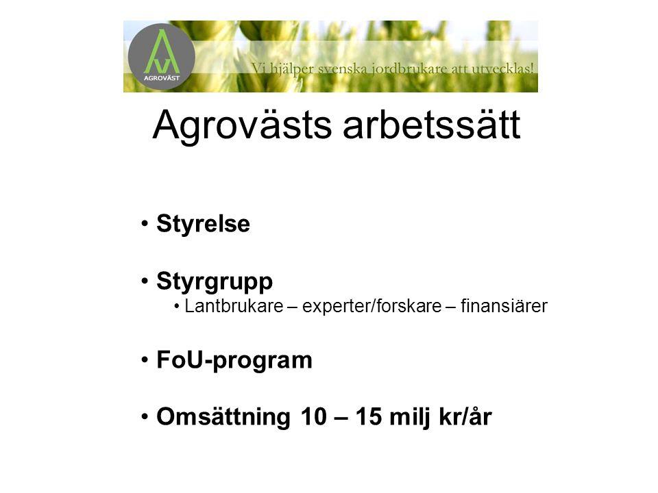 Exempel på några av Agrovästs avknoppningar Biologiska Yrkeshögskolan Hästcentrum PIG Drivhuset Skaraborg BIOMAP