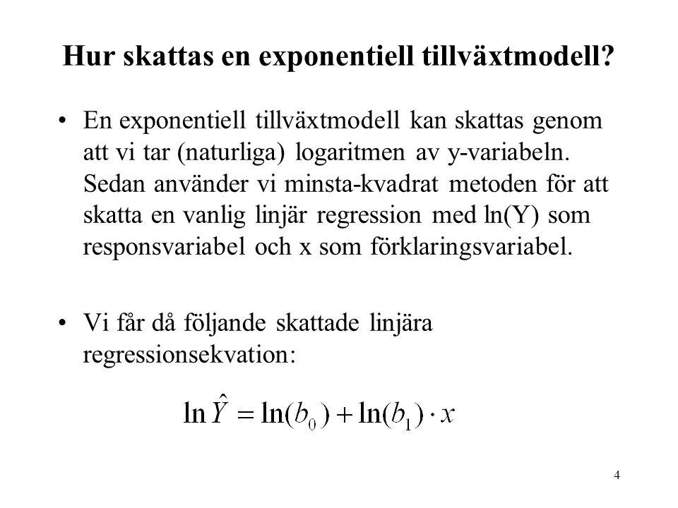4 Hur skattas en exponentiell tillväxtmodell? En exponentiell tillväxtmodell kan skattas genom att vi tar (naturliga) logaritmen av y-variabeln. Sedan